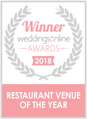 Winner weddingsOnline awards 2018 - Restuarant venue of the year